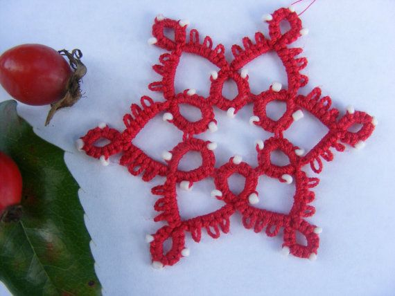 Hand tatted red Christmas lace ornament by Crochettthings on Etsy
