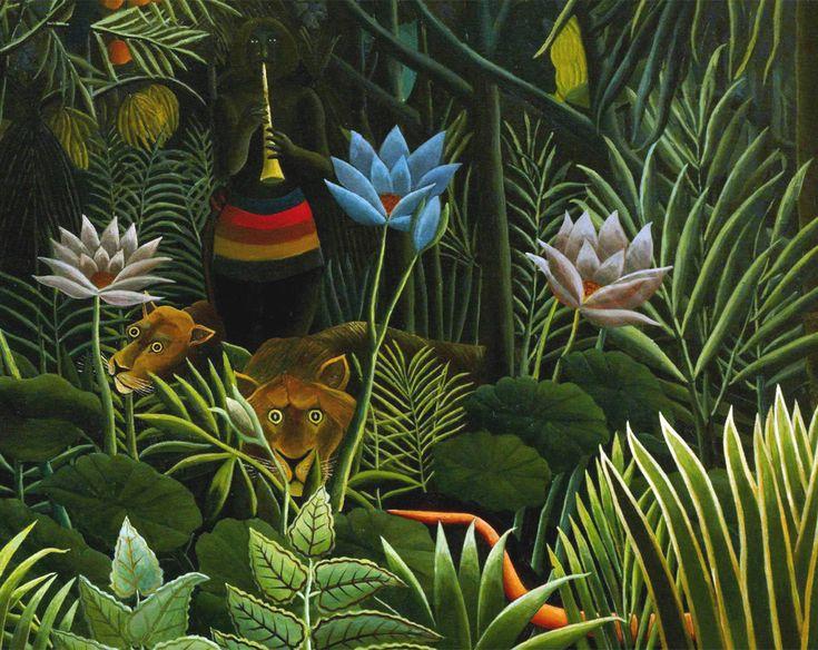Dettaglio del serprente e dell'incantatore di serpenti (Il sogno, H. Rousseau)