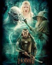 Poster affiche The Hobbit Film 3 Elrond, Galadriel, Gandalf et Azog 40 x 50 cm