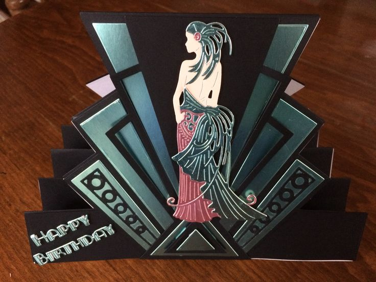 Tattered Lace Art Deco stepper card. Love this new  range from Tattered Lace.