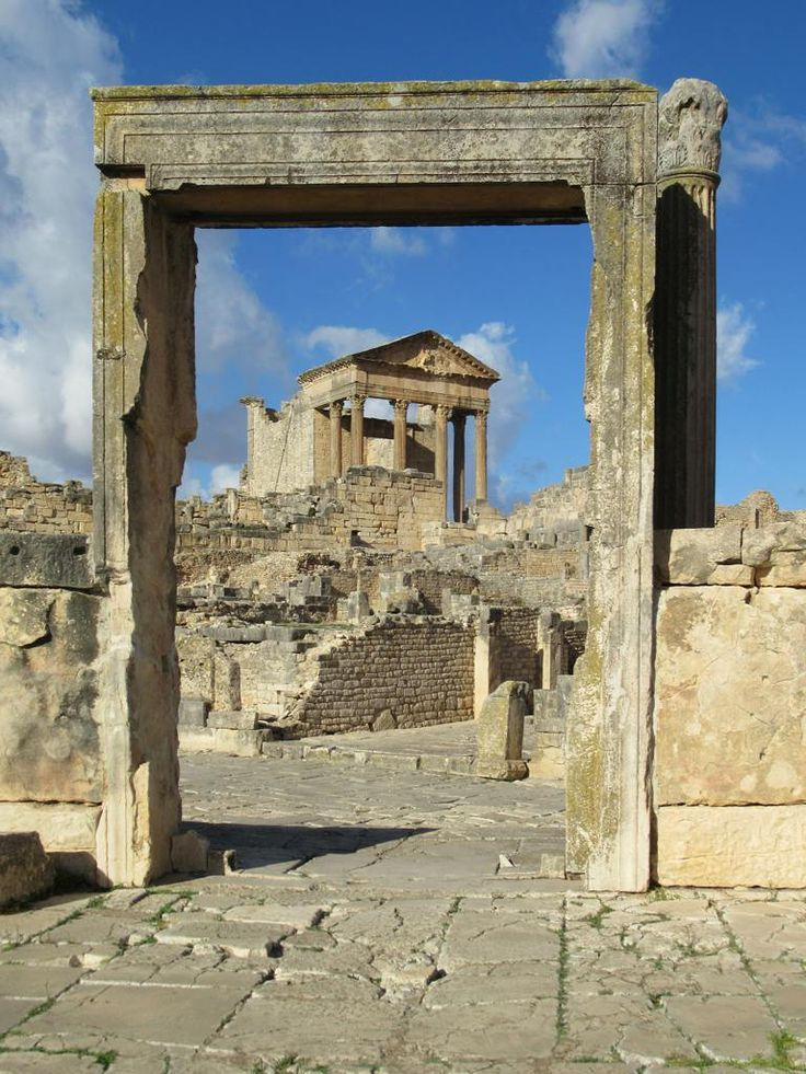 The Capitoline Temple at Dougga overlooks the Roman forum. Dougga was the capital of ancient Punic and Roman Tunisian states.