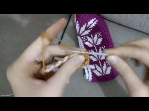 Tunus işi patik modelinde yaprak motifi yapılışı - YouTube