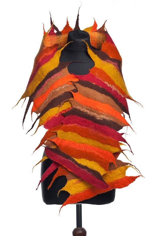 Colourful nuno felted  shawl.