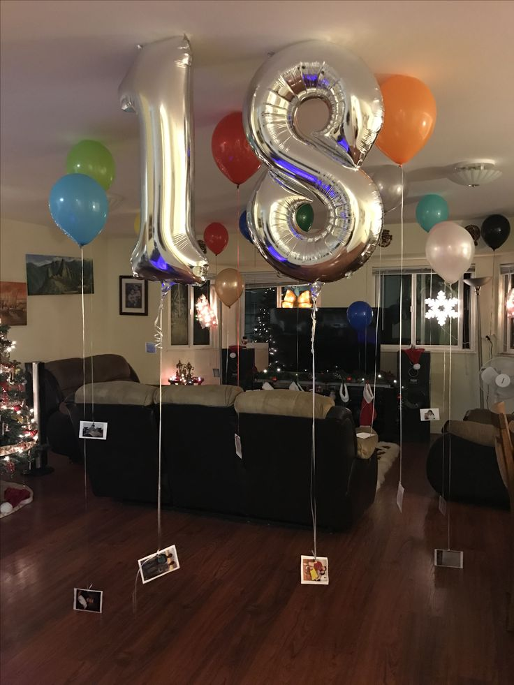 Surprise for 18 year old birthday boy!! He loved it...18 balloons, each attached by a string and an index card to the end of the string. In each card there's a message from a loved one on one side and a picture of the same person with the birthday boy on the other side. A great way to include family when they are far away.