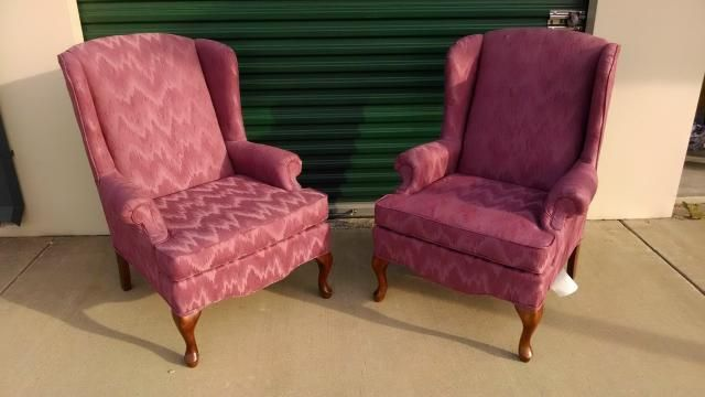 """PAIR OF EXQUISITE WINGED BACK CHAIRS WITH A ROSIE MAUVE SATEEN. 41""""X30""""X30"""""""