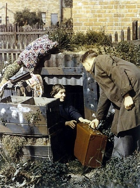 Anderson Shelter 1940.    These bomb shelters were given free to needy people by the U.K.goverment in 1939.If you earned more than 5 Pounds a week you had to buy one for 7 Pounds.  Soon after Sept. 1939 over 2 million families had these shelters in their gardens. from  Etiennedup on flickr
