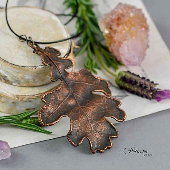 Oak Tree Leaf Necklace Botanical Jewelry Copper Jewelry