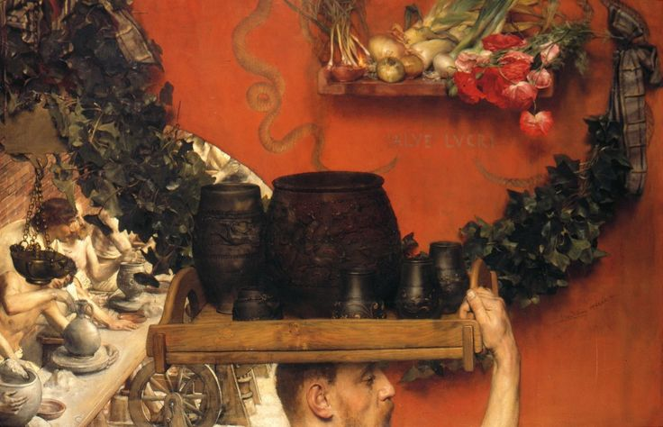 Lawrence Alma-Tadema, The Roman Potters in Britain (Hadrian in England), 1884 Koninklijke Verzamelingen (Royal Collections), The Hague Opus CCLXI (Section A) Öl auf Leinwand 76.2 × 119.4 cm