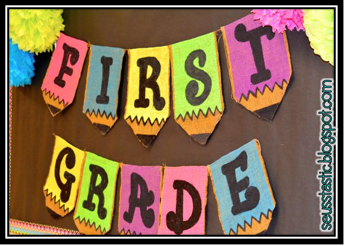 Classroom Decor Pencil Banner : Bright burlap pencil bunting check out this neon and