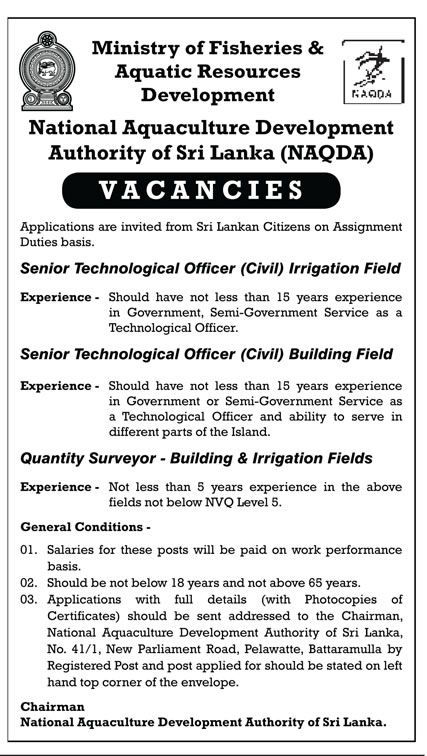 Sri Lankan Government Job Vacancies at National Aquaculture Development Authority of Sri Lanka for Senior Technical Officer (Civil), Quantity Surveyor