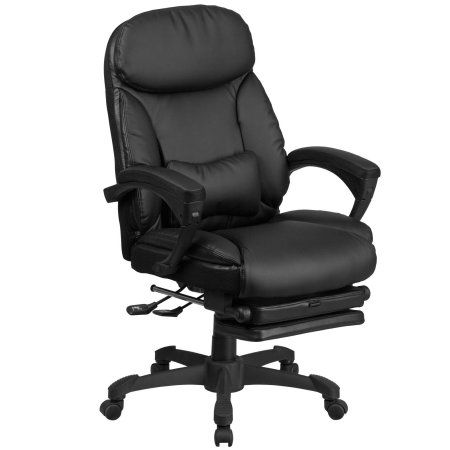 Flash Furniture High Back Black Leather Executive Reclining Swivel Office Chair with Comfort Coil Seat Springs and Padded Armrests