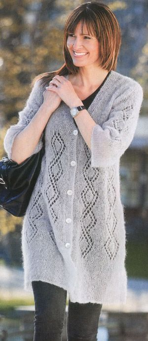 ажурное пальто с укороченым рукавом » Петля - вязание на все случаи жизни!