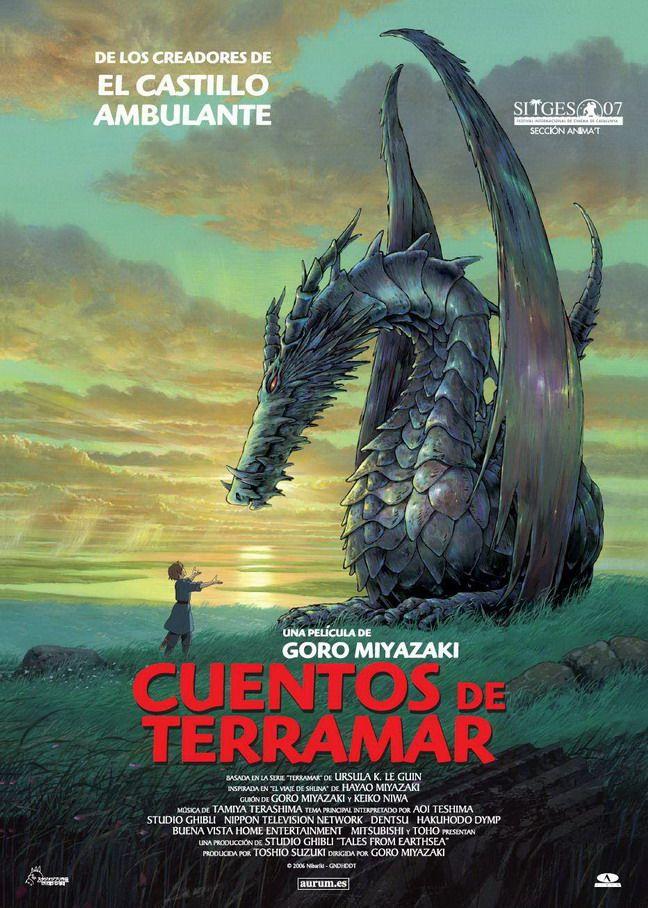 """Cuentos de Terramar (Gedo Senki) -2006 Gedo Senki (Cuentos de Terramar) es una película de anime del Studio Ghibli dirigida por Goro Miyazaki, hijo de Hayao Miyazaki. Está basada en el tercer libro de la serie """"Terramar, La costa más lejana"""", escrita por Ursula K. Le Guin. Una adaptación en manga se ha publicado en Japón. Fue nominada para competir en el Festival de cine de Venecia en el 2006. Gedo Senki nos sitúa en el archipiélago de Terramar, donde hay dragones, ..."""