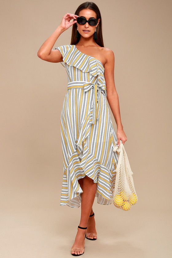 High Tide Yellow Striped One Shoulder Midi Dress 1