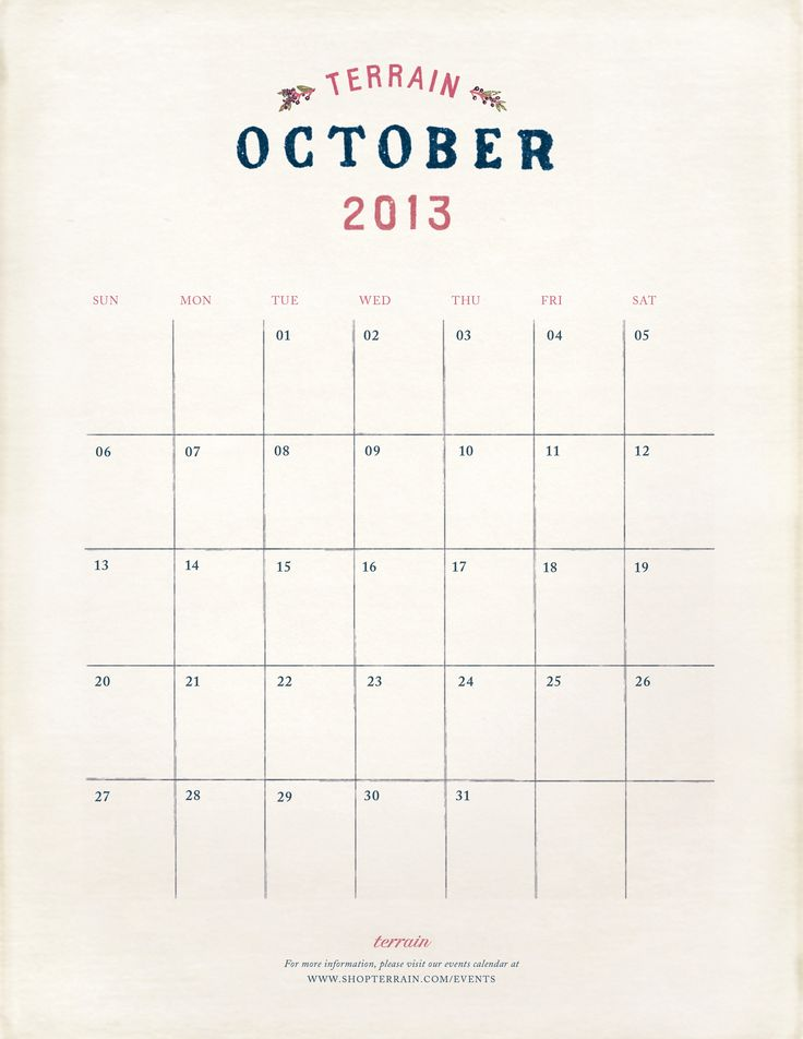 October at Terrain. Download your printable calendar on The Bulletin.