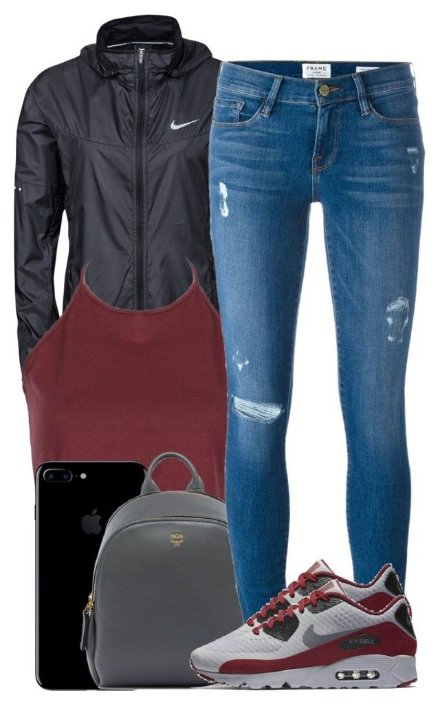 """""""Friday."""" by ashcake-wilson ❤ liked on Polyvore featuring NIKE, MCM and Frame Denim"""