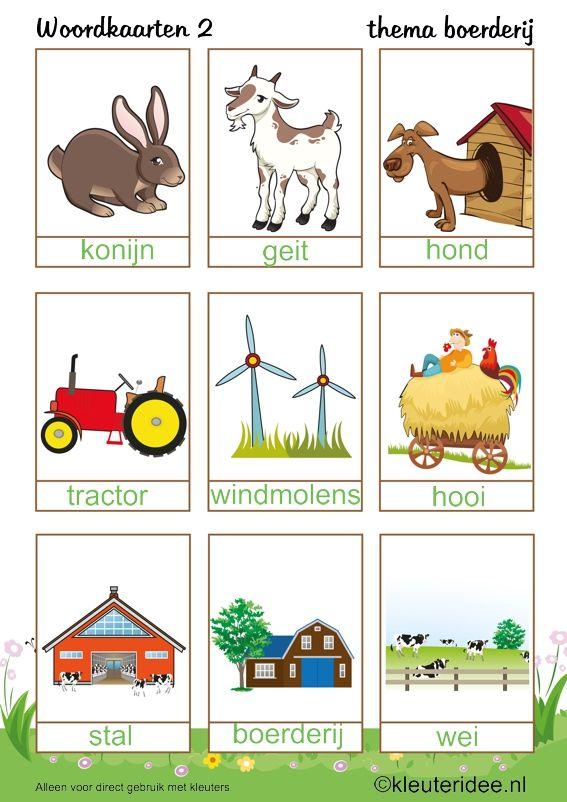 Woordkaarten voor kleuters 2, thema boerderij, kleuteridee , Preschool farm theme.