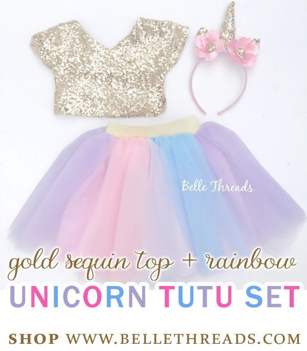 For the Birthday Girl on her Unicorn Birthday Party - A gold sequin top and rainbow unicorn tutu set / Unicorn Costume for Girls / Unicorn Tutu Dress for toddlers / Unicorn Tutu Outfit for Birthday Girls / Unicorn costume for Halloween. Shop for more unicorn tutu styles at www.bellethreads.com #unicorn #unicornparty #tutu #girlsdresses #toddlerfashion