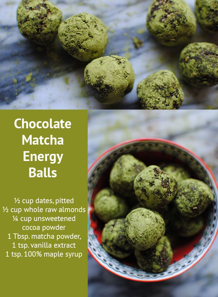 Get relaxed, focused, and energized with these addicting Chocolate Matcha Energy Balls. They're quick and easy to make, and only 56 calories each! #recipes #matcha #beachbody #beachbodyblog