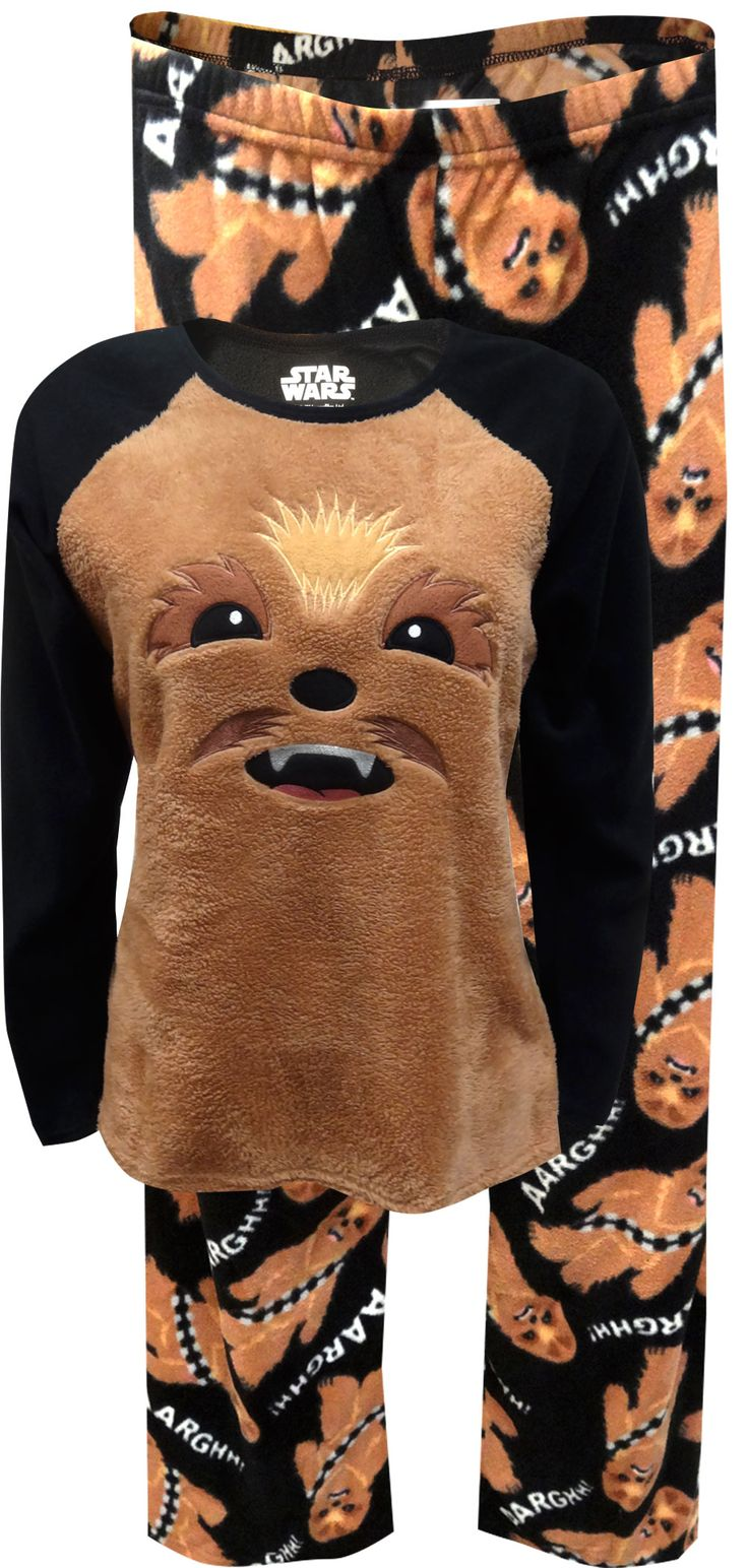 Awesome for watching your favorite Star Wars movies on the couch! This soft fleece pajama is designed to look like everyones favorite Wookiee warrior, Chewbacca, also known as Chewie. With a 3D face and pull on elastic waist pants, it just desn't get any cuter han this! Junior cut.
