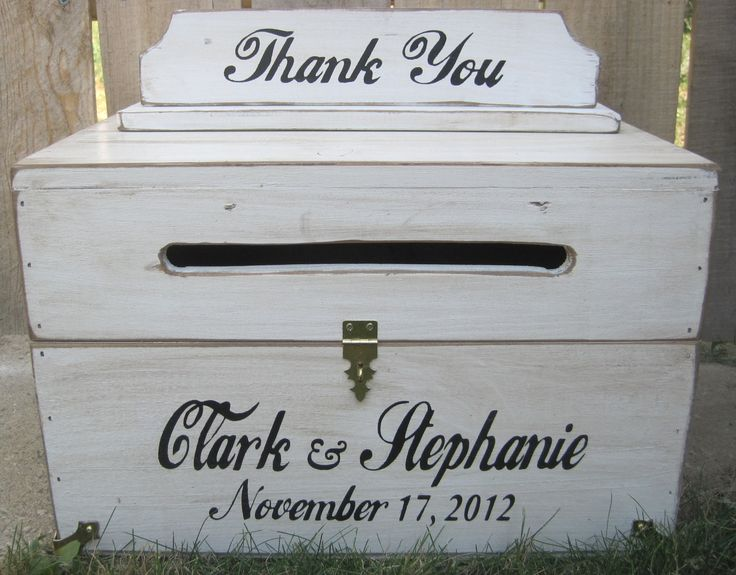 Large Rustic Wedding Card Box Keepsake Chest Handpainted Antique White Personalized Custom Wood 8500