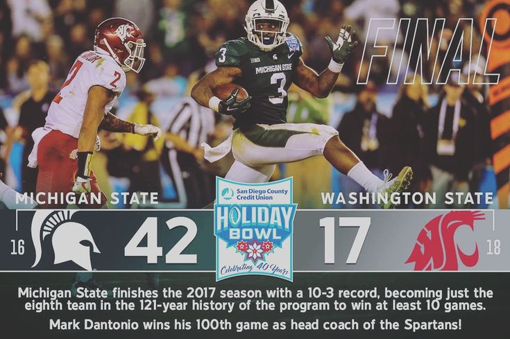 Michigan State finishes the 2017 season with a 10-3 record, becoming just the eighth team in the 121-year history of the program to win at least 10 games. Mark Dantonio wins his 100th game as head coach of the Spartans! #spartyon #spartanswill  #holidaybowl2017  Victory for MSU