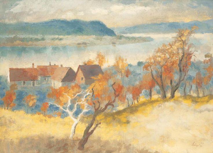 Szőnyi István Dunakanyar (Zebegényi Dunakanyar) 1940-es évek Olajtempera Vászon 50 × 70 cm