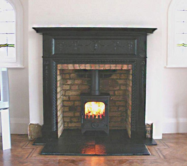 Antique Edwardian Cast Iron mantel with slate tiled hearth, original builders hole brick chamber and Charnwood Country 4 wood stove, fitted ...