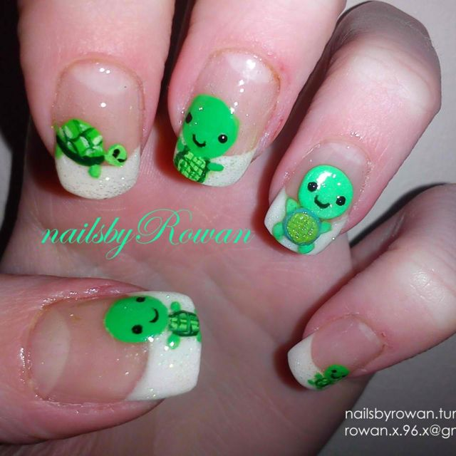 Turtle nails! Adorable