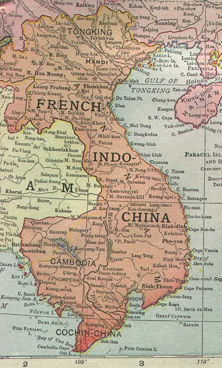 Historical Map French Indochina 1913 493