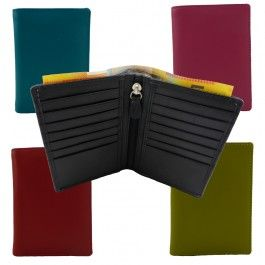 New Genuine Full Grain Leather Mens Womens Multi Colors Slim Card Wallet with Zip Pocket RW-02