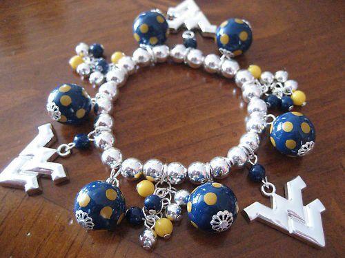 WVU bracelet: West Virginia University, Wvu Bracelets, Gold Charms Bracelets, Gifts Ideas, Gift Ideas, Things Wvu, West Virginia Universe, Cute Charms, Virginia Crafts