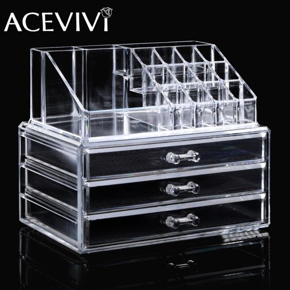 2016 New Freeship in US New ACEVIVI Clear Acrylic Makeup Cosmetic Drawers Grids 3 Tiers Display Desktop Home Storage Containers