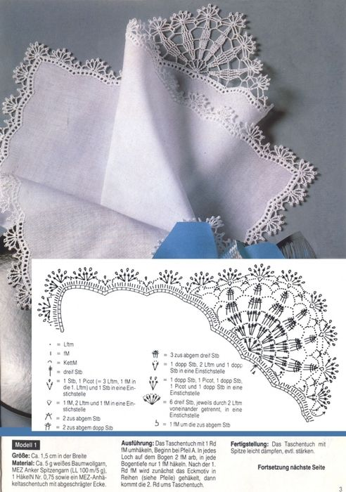 Delicate crochet lace for handkerchief edging and more patterns on the same page