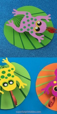 Adorable, feathering frog on a water lily leaf craft for kids. Ver … ,  #adorable #craft #f…