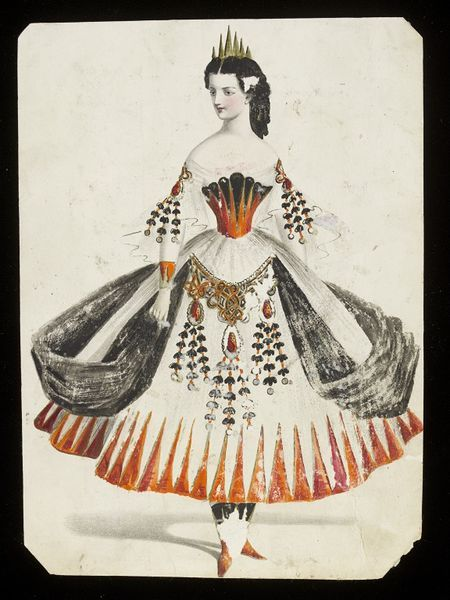   Jules Helleu   The subject of the costume is not obvious, but it might represent a certain historical period. Victorian fancy dress costumes were often very inventive and conceptual, relying upon subtle and not-so-subtle visual clues and devices to indicate their meaning.