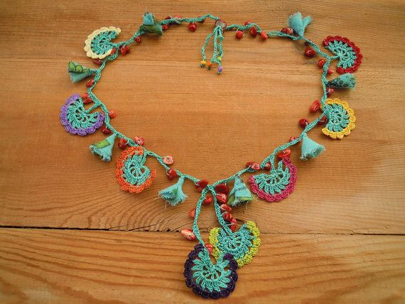 multicolored crochet necklace turquoise red coral by PashaBodrum, $28.00
