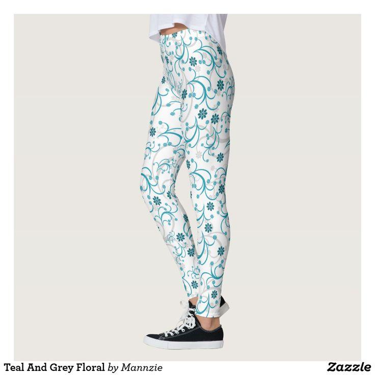 Teal And Grey Floral Leggings