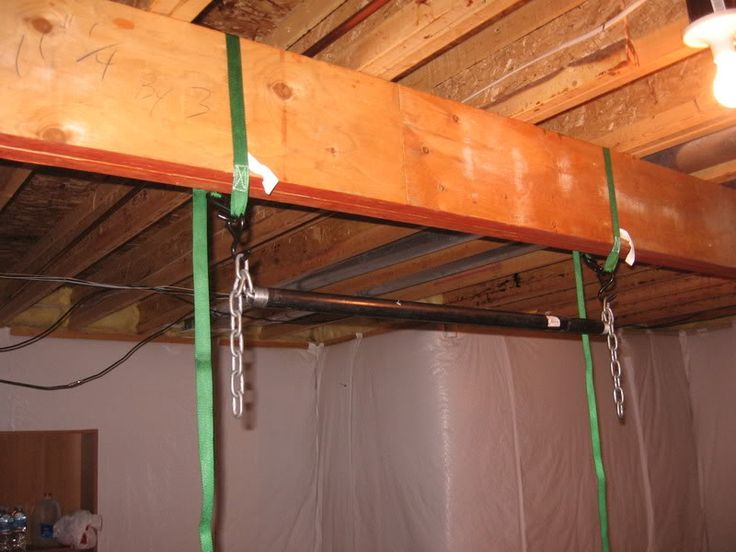 48 best ceiling mounted joist beam pull up bars images for How to build a bar in my basement