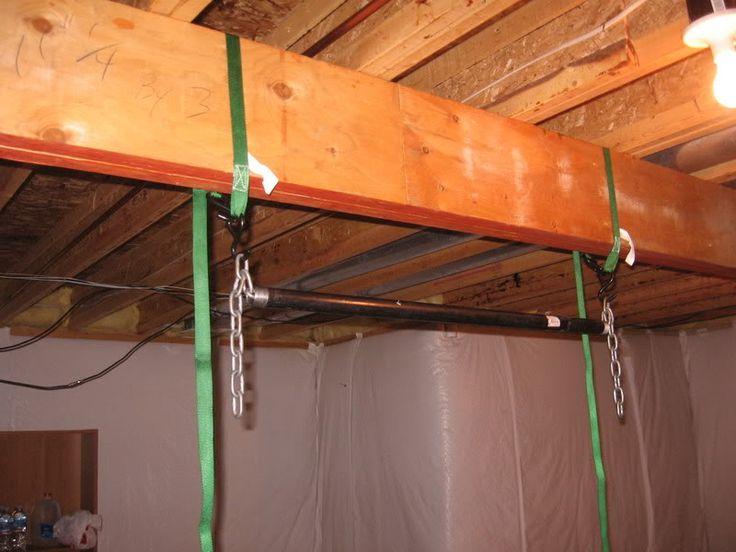 Pull up bar for basement beam ideas build