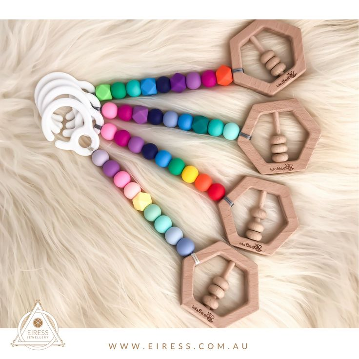 What rainbow is your favourite?  Certified safe playgym/pram toys by IdaBee!