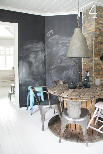 blackboard wall, rustic rounded wood table and tea pot