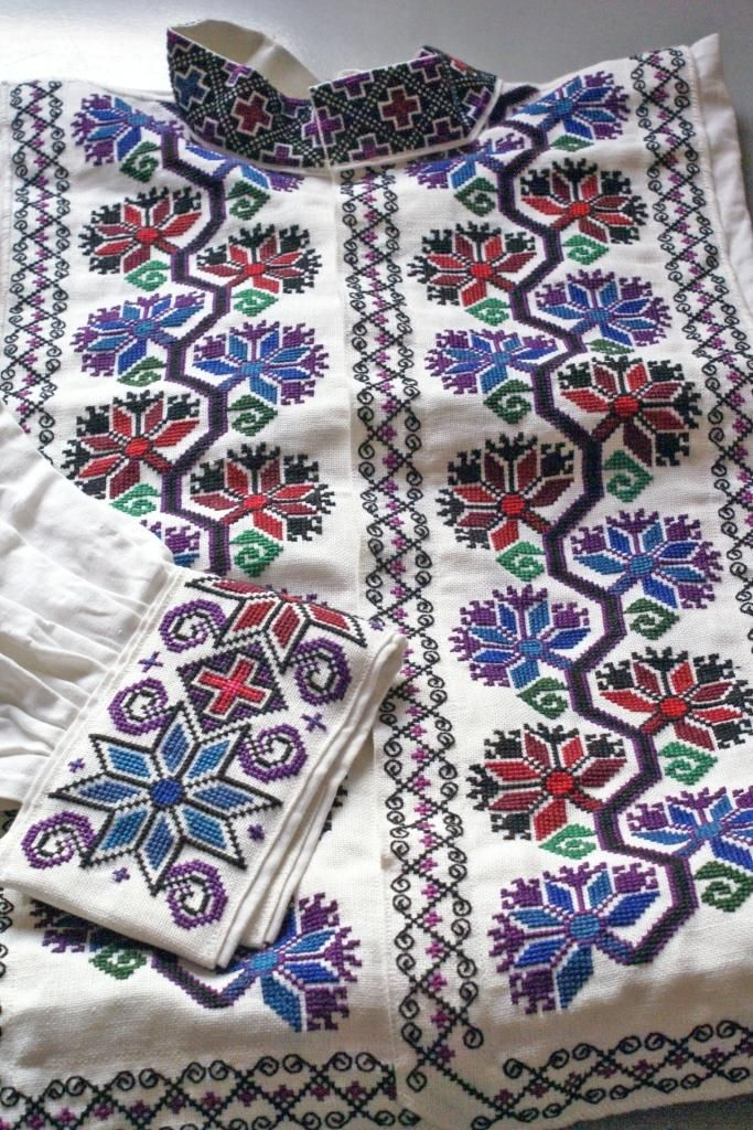 Traditional Ukrainian embroidered man's 'sorochka', or shirt, in the style of Serafyntsi village in the Horodenka region of Carpathian Western Ukraine - a replica of the shirt worn by my maternal grandfather as a young man nearly a century ago (Hand embroidered and assembled by Dave Melnychuk)