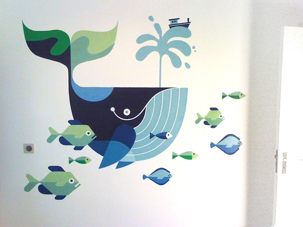 commissioned mural of a giant whale by Esther Aarts