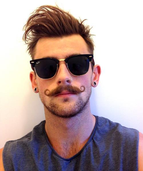 men piercings | mustache beard rayban earrings stretching ...  men piercings |...