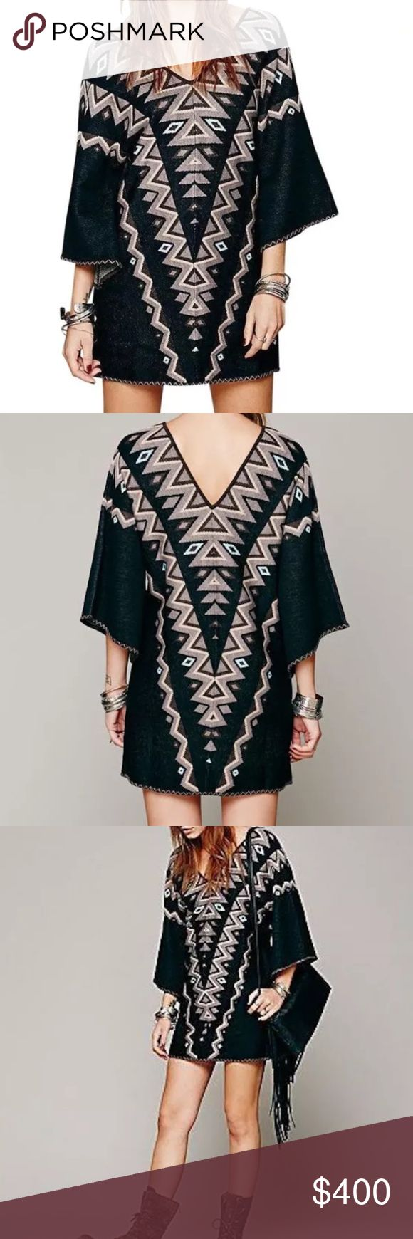 FREE PEOPLE Mini Dress Patterned Bohemian Classic Size Small. New With Tags.  $248 MSRP + Tax.  • Beautiful sweater mini dress featuring an effortless silhouette & ethnic design throughout. • Oversized, kimono-like sleeves with ribbed double v-neckline.  • Woven black and brown mixed triangle motif pattern. • Wear as a mini dress or tunic.  • Soft, unlined silhouette. • By Wildheart for Free People.  {Southern Girl Fashion - Closet Policy}  ✔️ Same-Business-Day Shipping (10am CT) ✔️ Price…