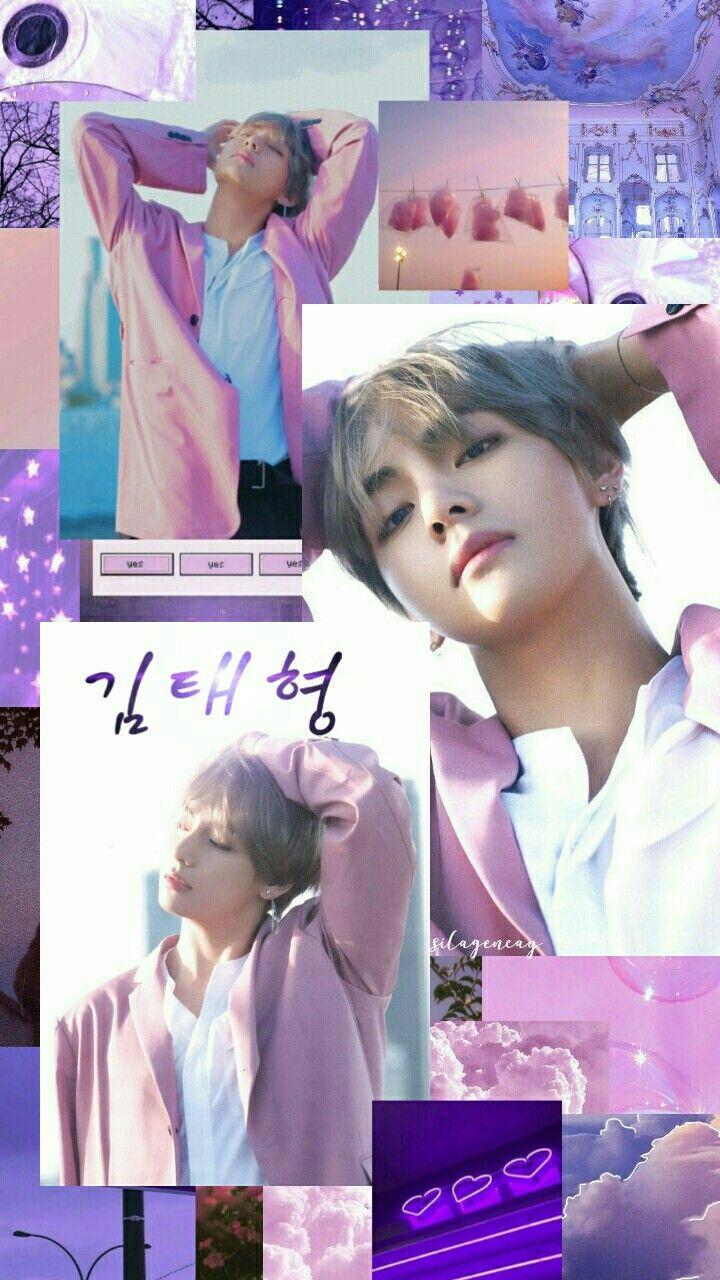Kim Taehyung V Purple Pink Aesthetic Wallpaper Bts Wallpaper Lucu Gambar Fandom Gambar Gambar v bts cute wallpaper