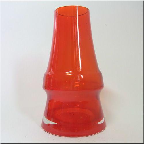 Riihimäen Lasi Oy / Riihimaki red glass 'Piippu' (chimney) vase by Aimo Okkolin.