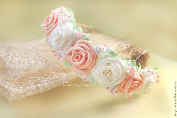 Купить Ободок с розами, кремовые розы, белые розы, розочки - кремовый, молочный, белый, розы