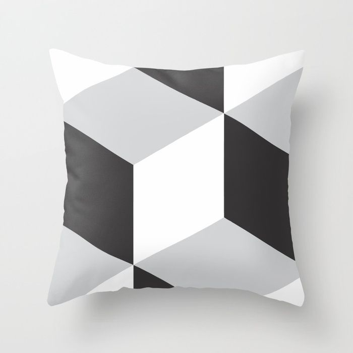 Buy Cubism Black and White Throw Pillow